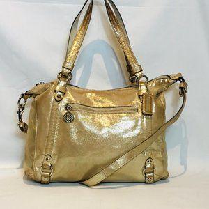 Coach Factory Gold Leather Alexandra Handbag